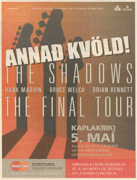 Newspaper Advertisement for The Shadows to play at the Kaplakriki Sports Hall, Reykjavik (Iceland)